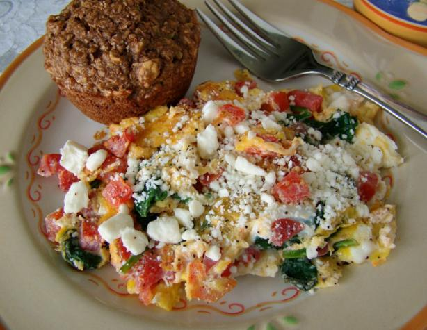 Spinach & Tomato Scrambled Egg With Feta Cheese