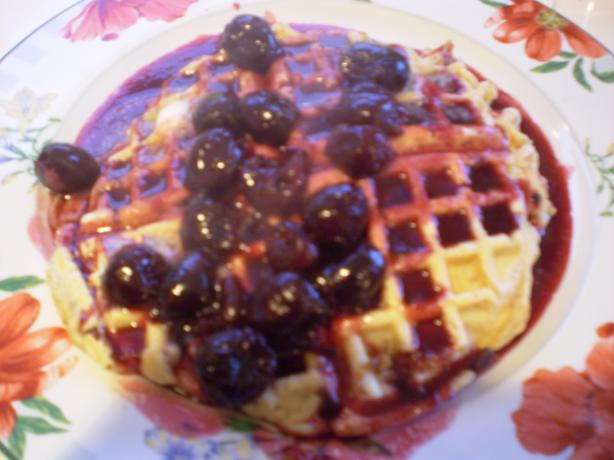 Pecan Whole-wheat Waffles With Cherry Sauce