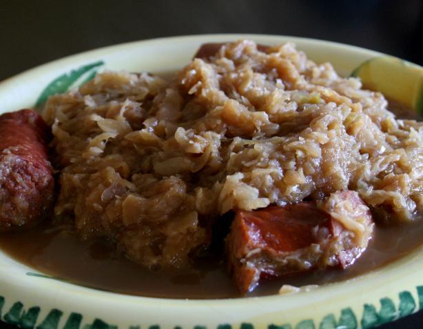 Crock Pot Smoked Sausage and Sauerkraut