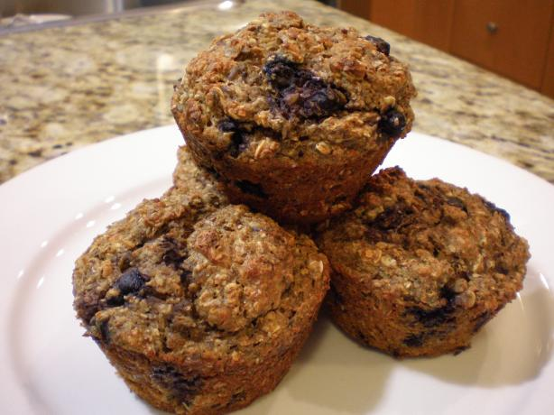 High Protein, High Fiber Blueberry Muffins