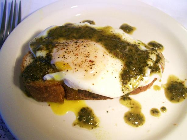 Poached Eggs and Parmesan Cheese over Toasted Brioche W/ Pistou