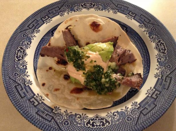 Grilled Steak Tacos With Chipotle Cream and Chimichurri