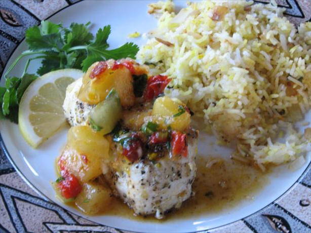 Grilled Halibut With Pineapple Chipotle Salsa