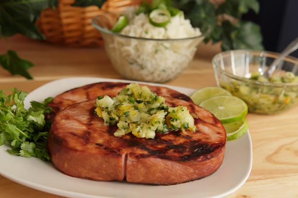 Grilled Ham Slice With Pineapple Salsa