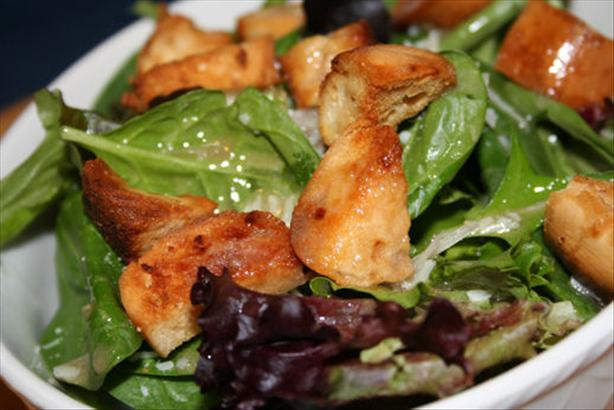 Caesar Salad With Onion Bagel Croutons