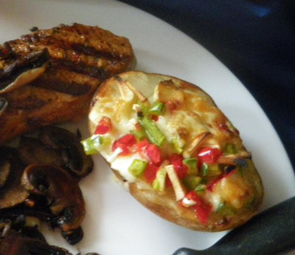 Fontina and bell pepper baked potato topping