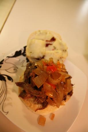 Shredded Beef Sammies With Grilled Onions & Peppers