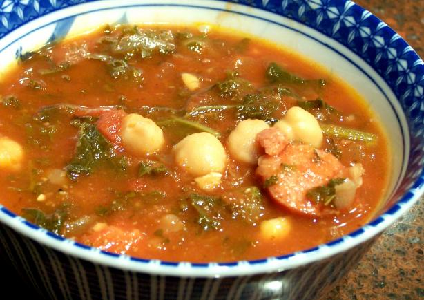 Caleb's Sausage, Kale & Chickpea Soup