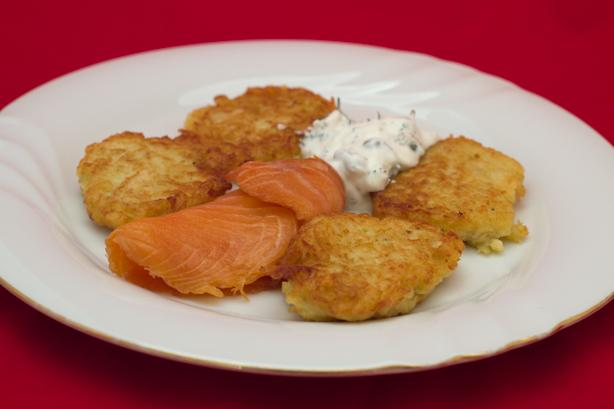 Parsnip Pancakes With Smoked Fish and Caper Sour Cream