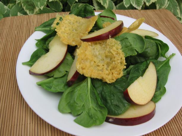 Baby Spinach Salad With Swiss Cheese Crisps