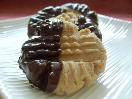 White Lily Chocolate Dipped Peanut Butter Cookies