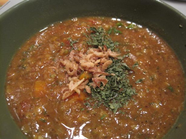 Persian-Style Red Lentil and Tomato Soup