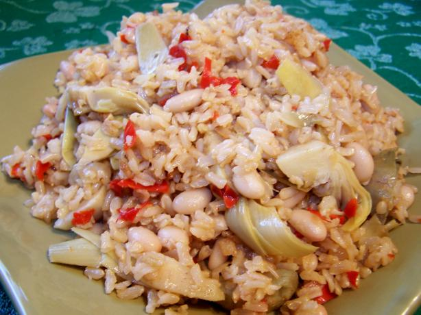 Vegetarian Lemon Rice With Artichokes and Chickpeas