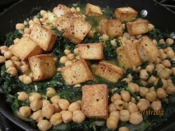 Indian Tofu and Spinach over Almond Rice