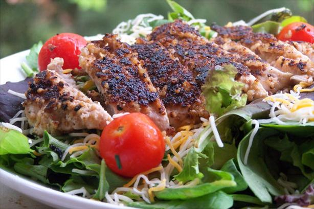 Walnut-Crusted Chicken Salad With Buttermilk Honey Dressing