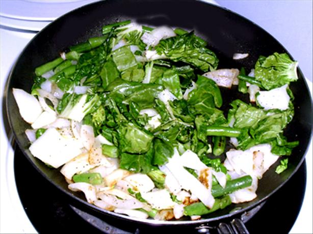 Baby Bok Choy Stir Fry With Beans & Onions