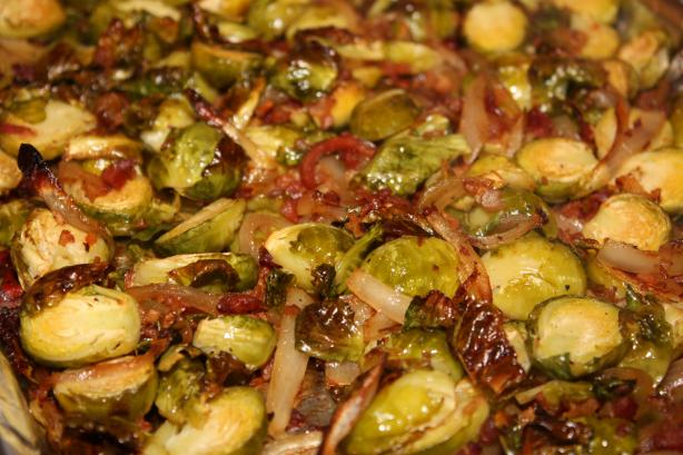 Roasted Brussels Sprouts W/ Bacon & Shallots