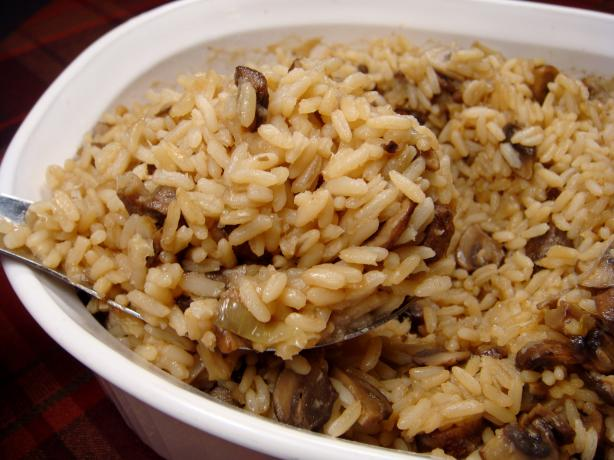 Baked Onion Rice With Mushrooms