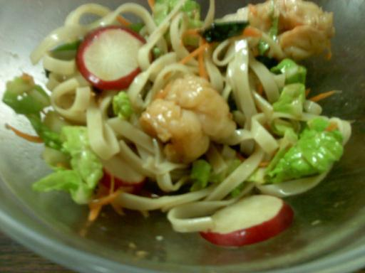 Spicy Noodles With Ginger-Garlic Shrimp and Wasabi Sauce