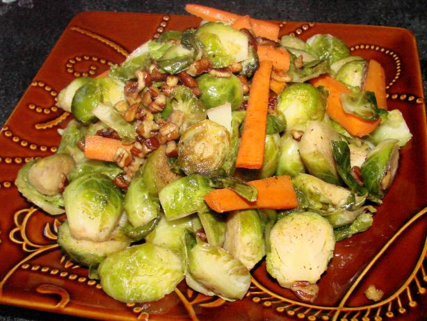 Brussels Sprouts, Baby Carrots, and Pecans in a Maple Sauce