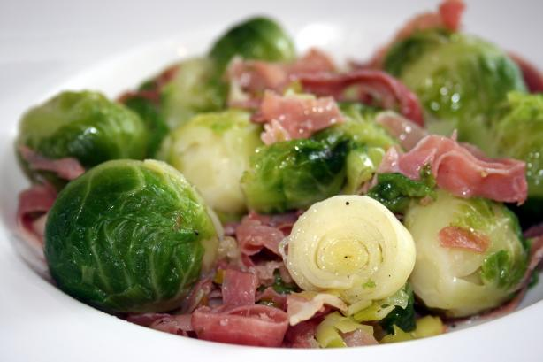 Uncle John's Brussels Sprouts With Prosciutto and Leeks