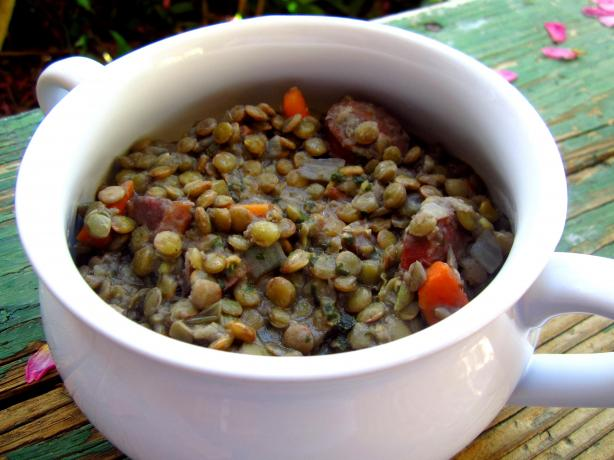 Lentils With Smoked Sausage and Carrots