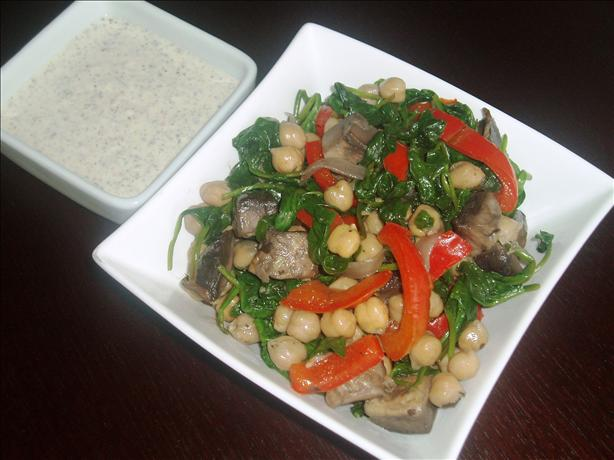Warm Chickpea and Spinach Salad With Yogurt Sauce