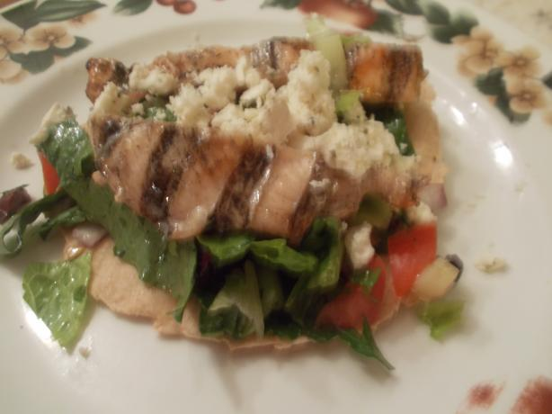 Grilled Chicken, Greek-Style, With Salad and Warm Pita Bread For