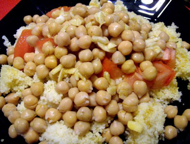 Chickpea and Fresh Tomato Couscous With Curry Dressing