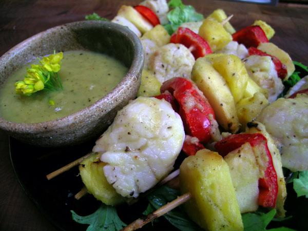 Pineapple Mango Tango Scallops Skewers