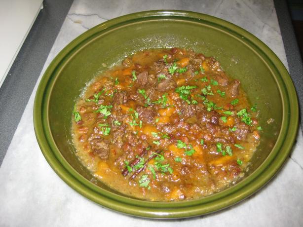 Moroccan Venison (Beef) Tagine W/ Dried Mango & Raisins