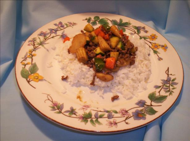 Ground Beef Sesame Ginger Stir Fry