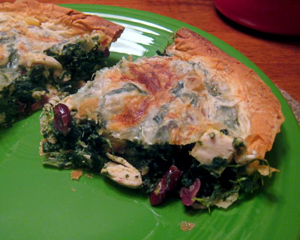 Chicken, Spinach and Dried Cranberry Phyllo Pie