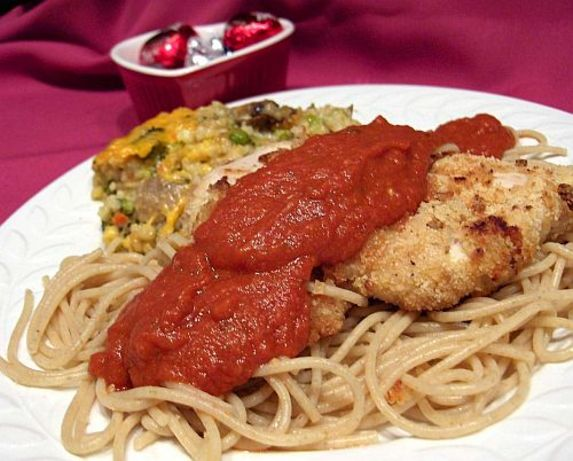 Low Calorie Parmesan Chicken With Tomato Cream Sauce