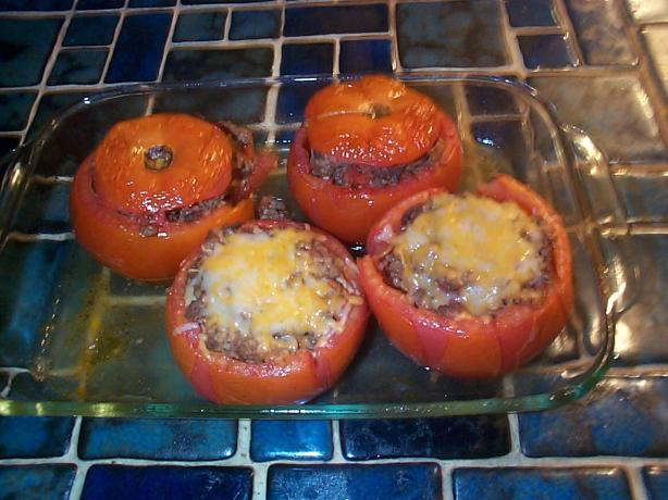 Stuffed Tomatoes With Wild Rice, Beef & Mint