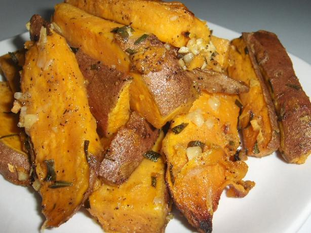 Sweet Potatoes Roasted With Garlic and Rosemary