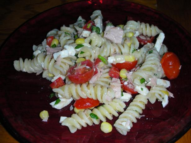 Pasta Salad With Tuna, Corn and Cherry Tomatoes