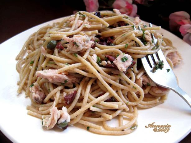 Tuna Pasta Salad With Warm Black Olive Vinaigrette