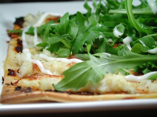 Crispy Crab Pizza With Rocket Salad Topping