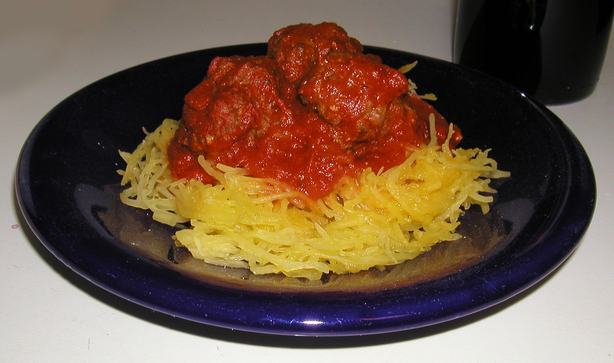 Spaghetti Squash With Meatballs and Cabernet Marinara Sauce
