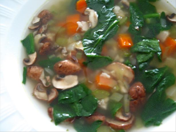Chicken, Spinach & Shiitake Mushroom Soup