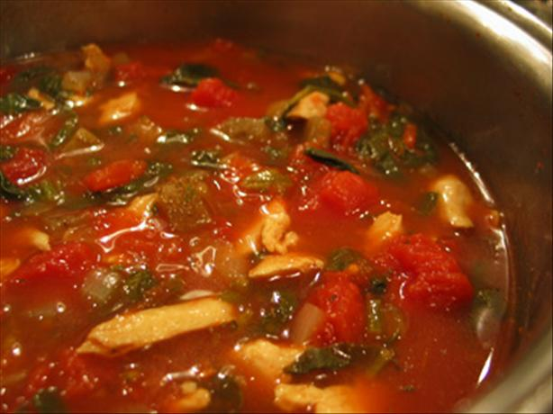 Chicken Soup With Spinach, Eggplant & Tomato