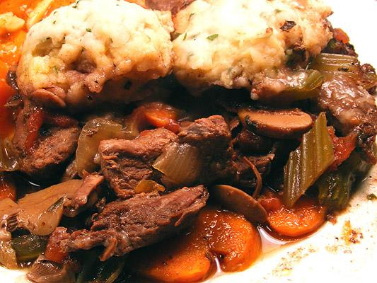 Beef and Vegetables in Red Wine Sauce