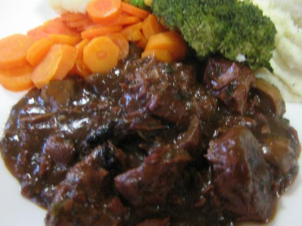 Beef and Mushrooms in Red Wine Sauce