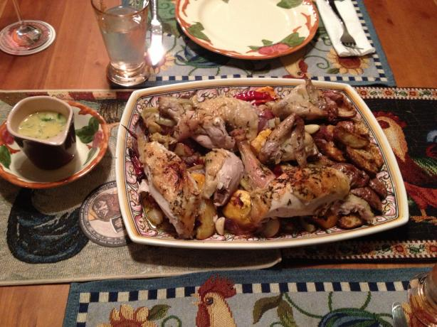 Roast Chicken With Root Vegetables, Rosemary, and Garlic