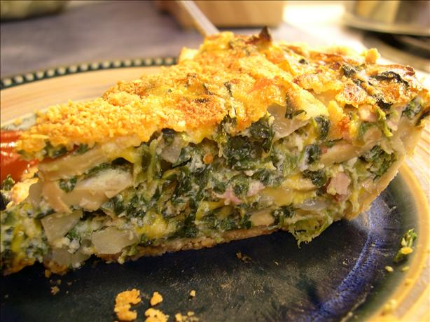 Easy Cheesy Spinach and Ham Quiche Pie