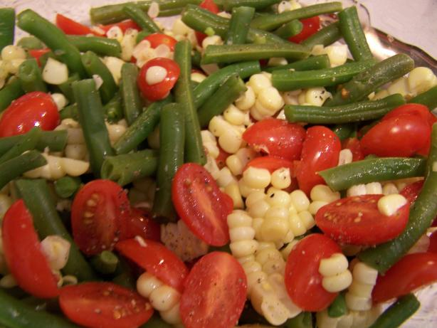 Jeanne's Green Beans, Corn and Cherry Tomato Salad