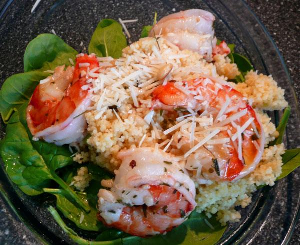 Egyptian Toasted Pine Nut Couscous With Garlic Shrimp