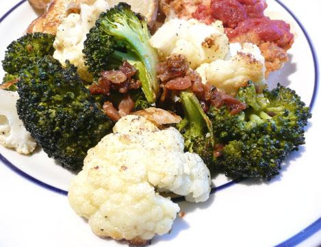 Oven Roasted Cauliflower and Broccoli With Bacon