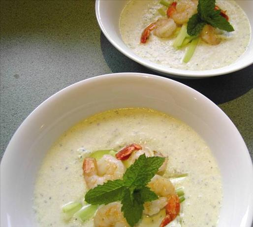 Chilled Cucumber & Yoghurt Soup With Prawns